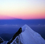 The shadow of Mt Blanc on the horizon in line with